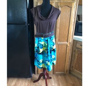 AGB Belted Cowl Neck Dress Size 14